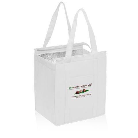 Non-Woven Large Insulated Shopper Tote Bag in White