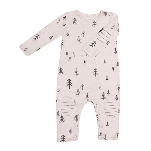 Long Sleeve Terry Onesie - Pink Forest
