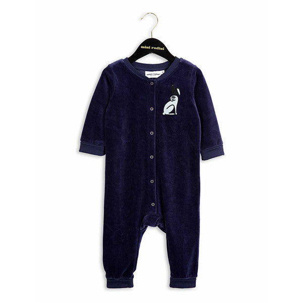Rabbit Velour Onesie | Dark Blue