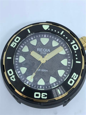 Custom made Regia Diver patina and aged dial - Black dial (free shipping) (1 piece only)