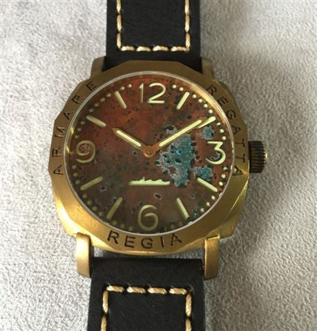 NEW ! R105 / Custom made patina dial - Number dial (Engraved bezel) (free shipping) (1 piece only)