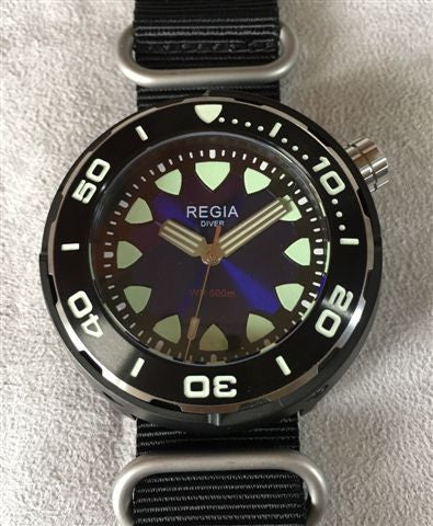 Regia Diver 2017 - NEW Blue sunburst dial (Silver) (free shipping)