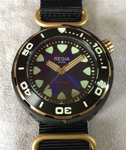 Regia Diver 2017 - NEW Blue sunburst dial (Gold) (free shipping)