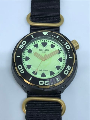 Regia Diver 2018 - NEW Green Scuba Ghost dial (Gold) (free shipping)