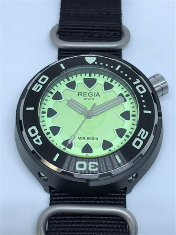 Regia Diver 2018 - NEW Green Scuba Ghost dial (Silver) (free shipping)