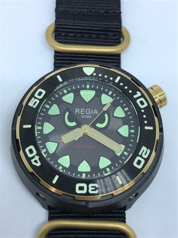 Regia Diver 2018 - NEW Angry Eye Grey sunburst dial (Gold) (free shipping)