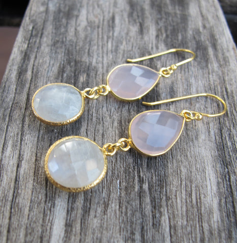 Rainbow Moonstone Earrings- Pink Quartz Earrings- Bridesmaids Earrings- Gold Earrings- Wedding Earrings- Dangle Earrings- Gemstone Earrings