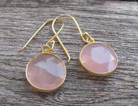 Quartz Silver Earring- Rose Quartz Dangle Earrings-Pink Earrings-Pink Quartz Earrings-Pink Topaz Earrings-Stone Earrings-Bridesmaids Earring