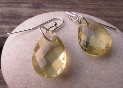 Quartz Silver Earrings- Lemon Quartz Earrings- Topaz Earrings- Green Stone Earrings- Gemstone Earrings- Dangle Earrings- Silver Earrings