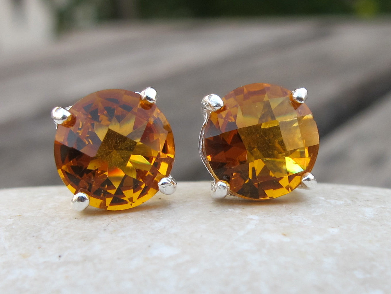 Stone Earrings-Stone Studs-Post Earrings-Quartz Earrings- Citrine Earrings- Citrine Stud Earrings-November Birthstone Stud Earrings- Studs