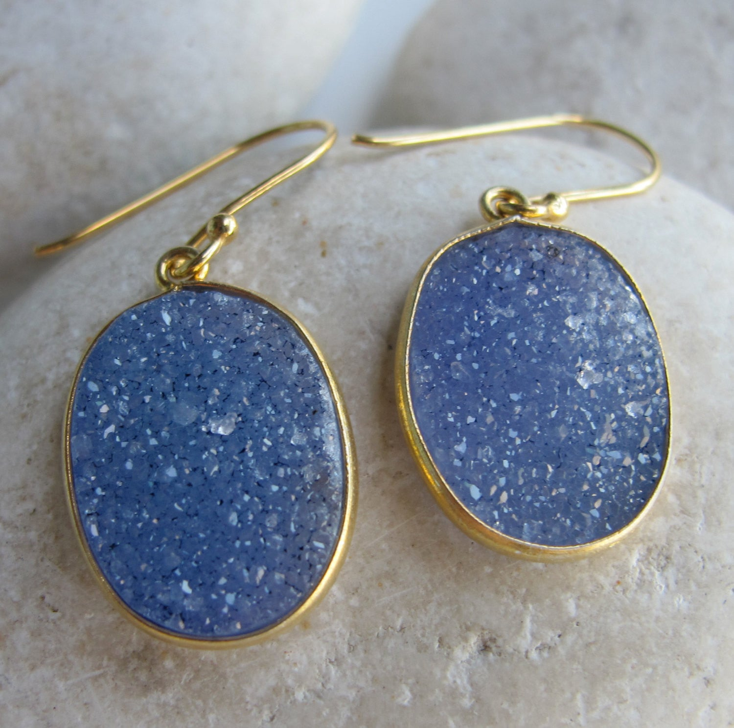 Oval Blue Druzy Earring- Gemstone Earring- Blue Earring- Statement Earring- Blue Stone Earring- Crystal Earring- Druzy Earring- Earring