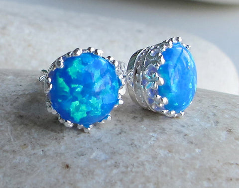 Silver Blue Opal Studs- October Opal Earrings- Gifts for Her- Blue Earring- Stone and Silver Stud Earring- October Birthstone Earring