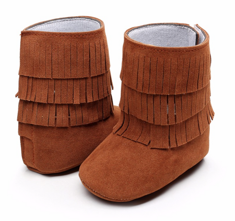 Fringe Boots-Brown Suede