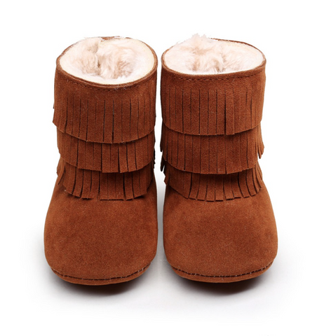 Fur Fringe Boots-Brown Suede