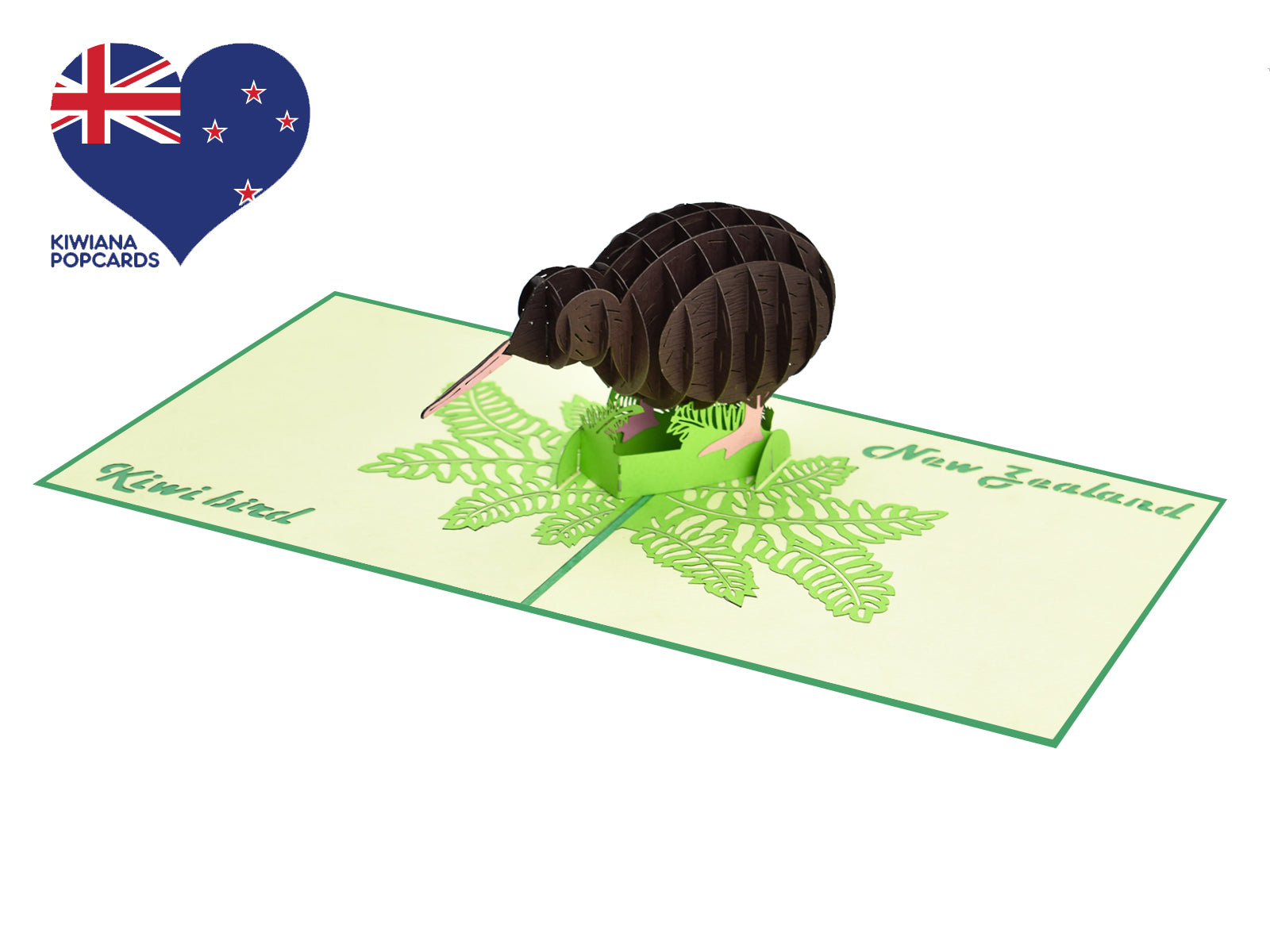 New Zealand Brown Kiwi 3D Creative Pop Up Card