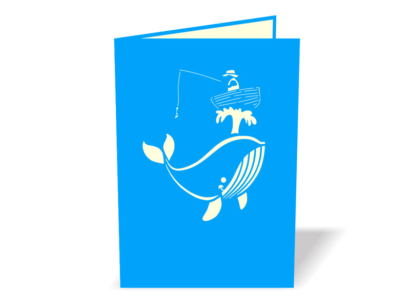 Fisherman Catches A Whale 3D Creative Pop Up Card