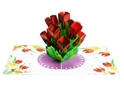 Red Tulips 3D Creative Pop Up Card
