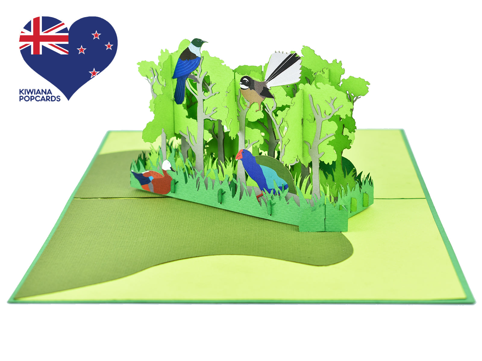 New Zealand Forest with Native Birds 3D Creative Pop Up Card