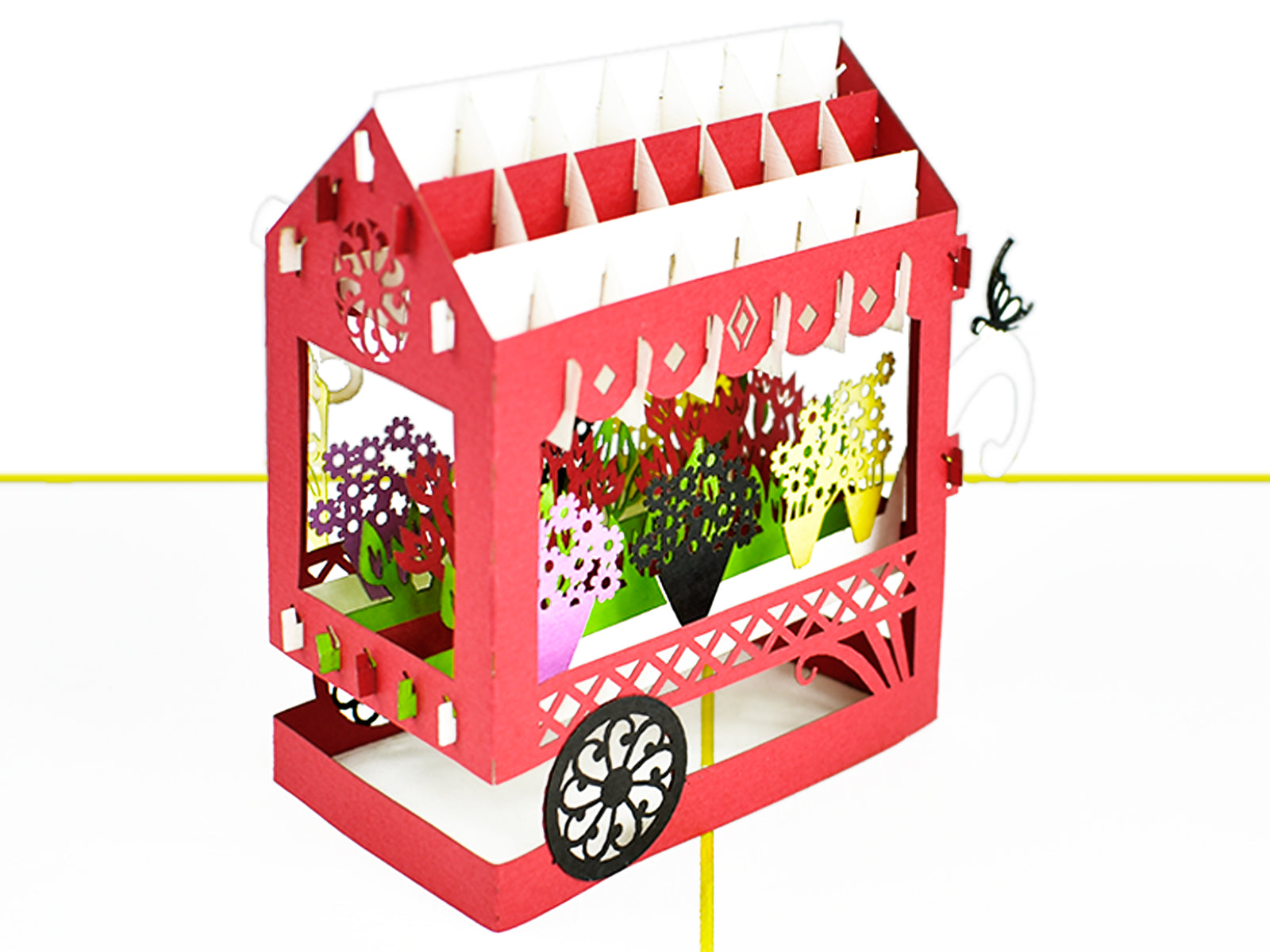 Flower Cart 3D Creative Pop Up Card