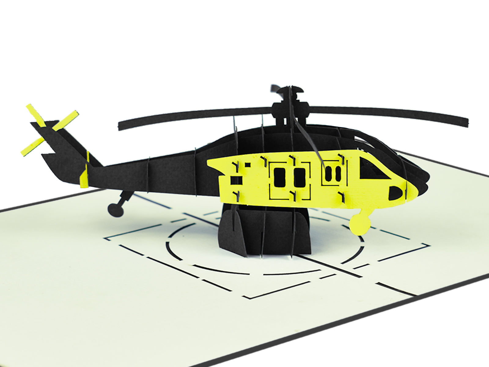 Helicopter (Black & Yellow) 3D Creative Pop Up Card