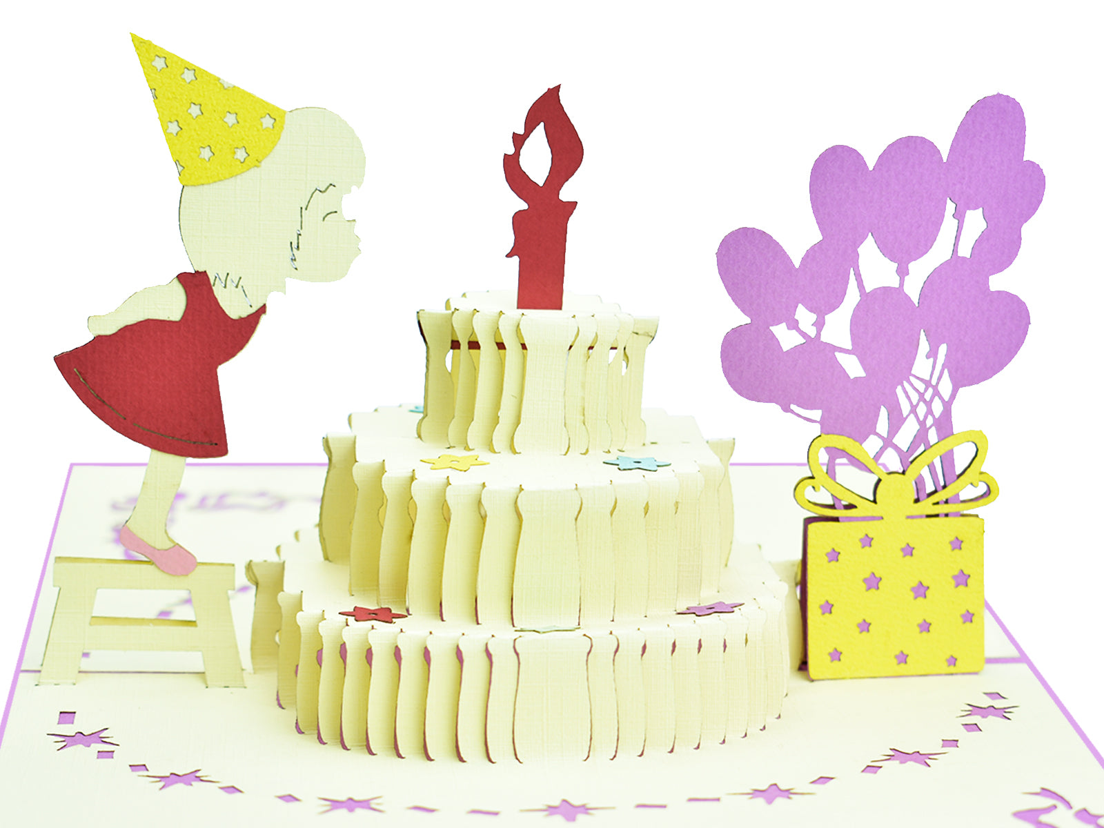 Girl Blowing Candle Pop Up Card