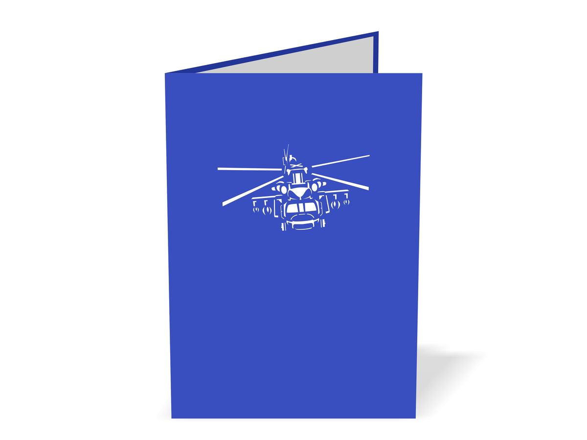 Helicopter (Blue & White) 3D Creative Pop Up Card