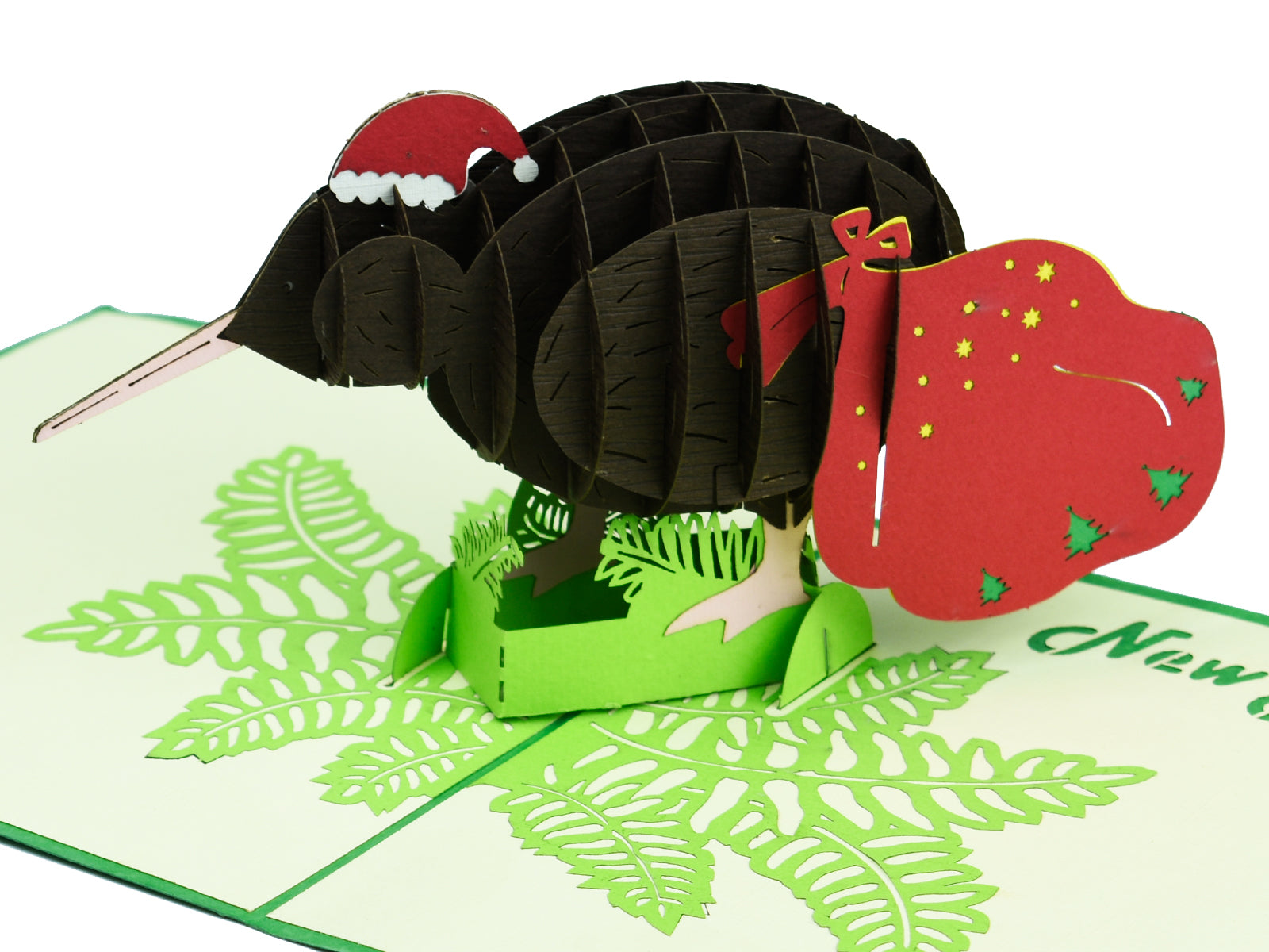 Brown Kiwi with Christmas Hat and Santa Sack 3D Creative Pop Up Card - close up