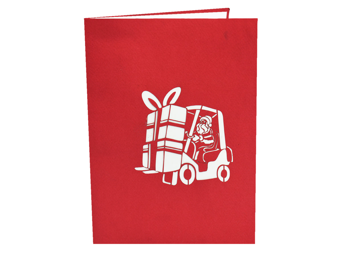 Santa Claus Driving A Forklift 3D Pop Up Card