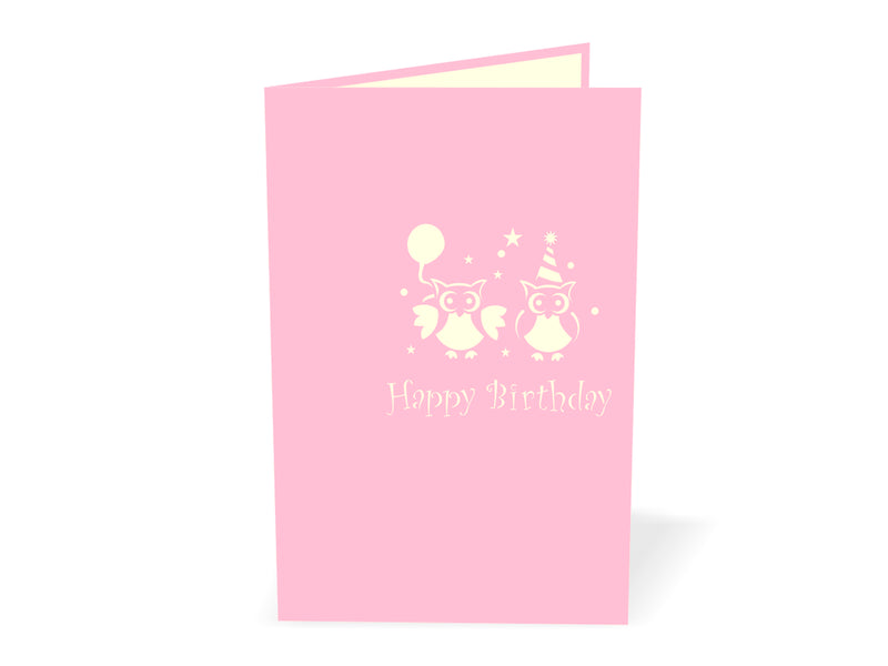 Owls with Birthday Cake 3D Creative Pop Up Card