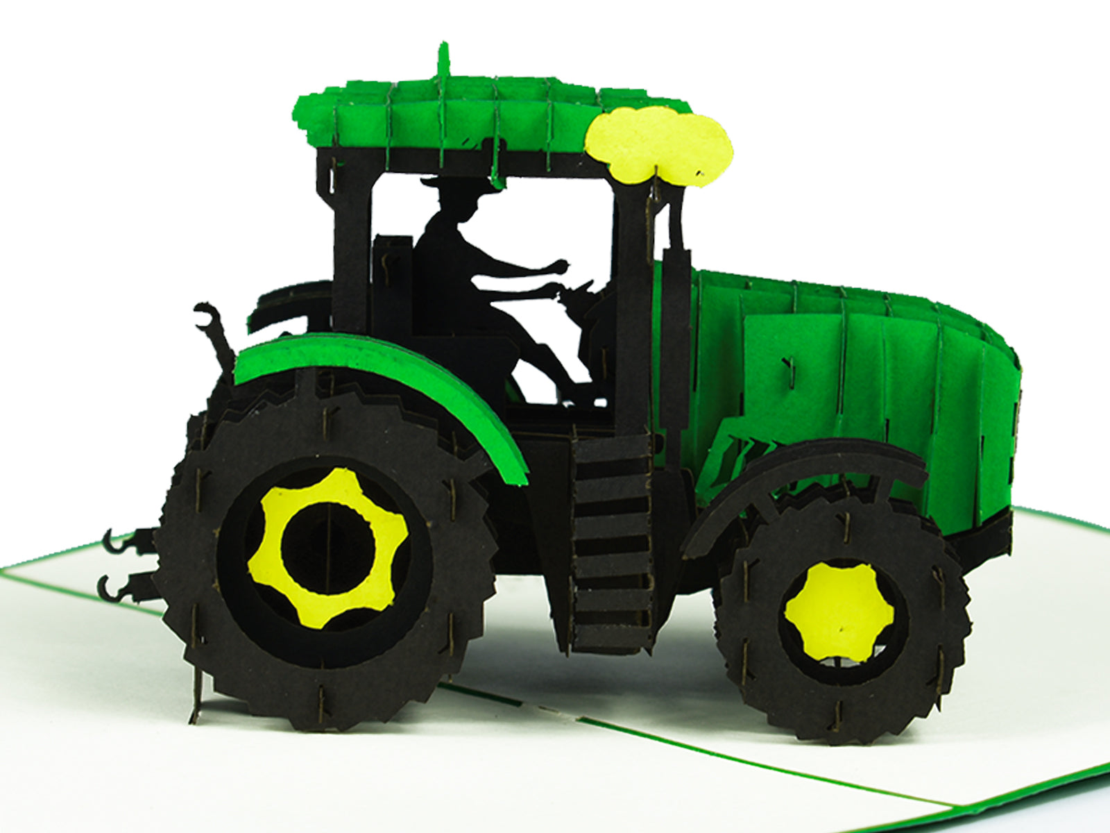 Modern Green Tractor 3D Creative Pop Up Card - close up