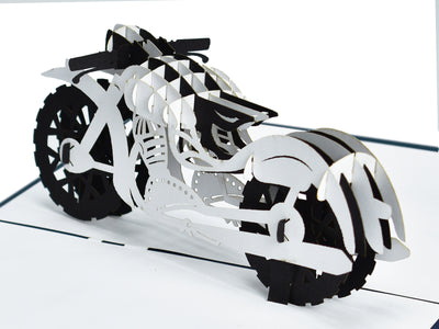Black and White Motorbike 3D Creative Pop Up Card