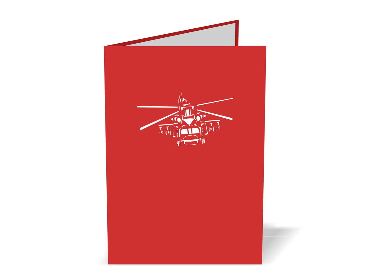 Helicopter (Red & White) 3D Creative Pop Up Card