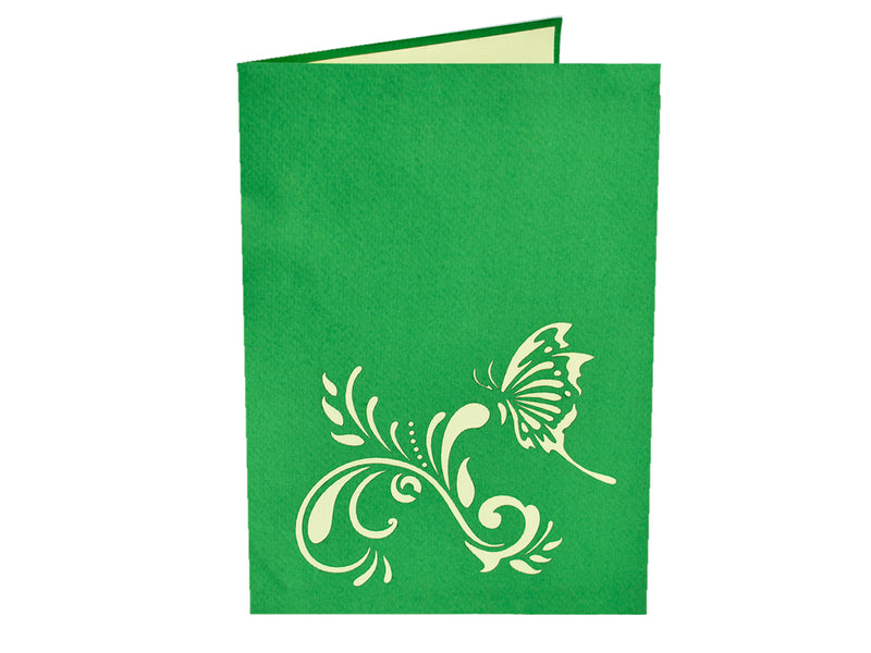 Flower and Butterfly - Green 3D Pop Up Card