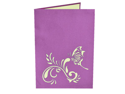 Flower and Butterfly - Purple 3D Pop Up Card