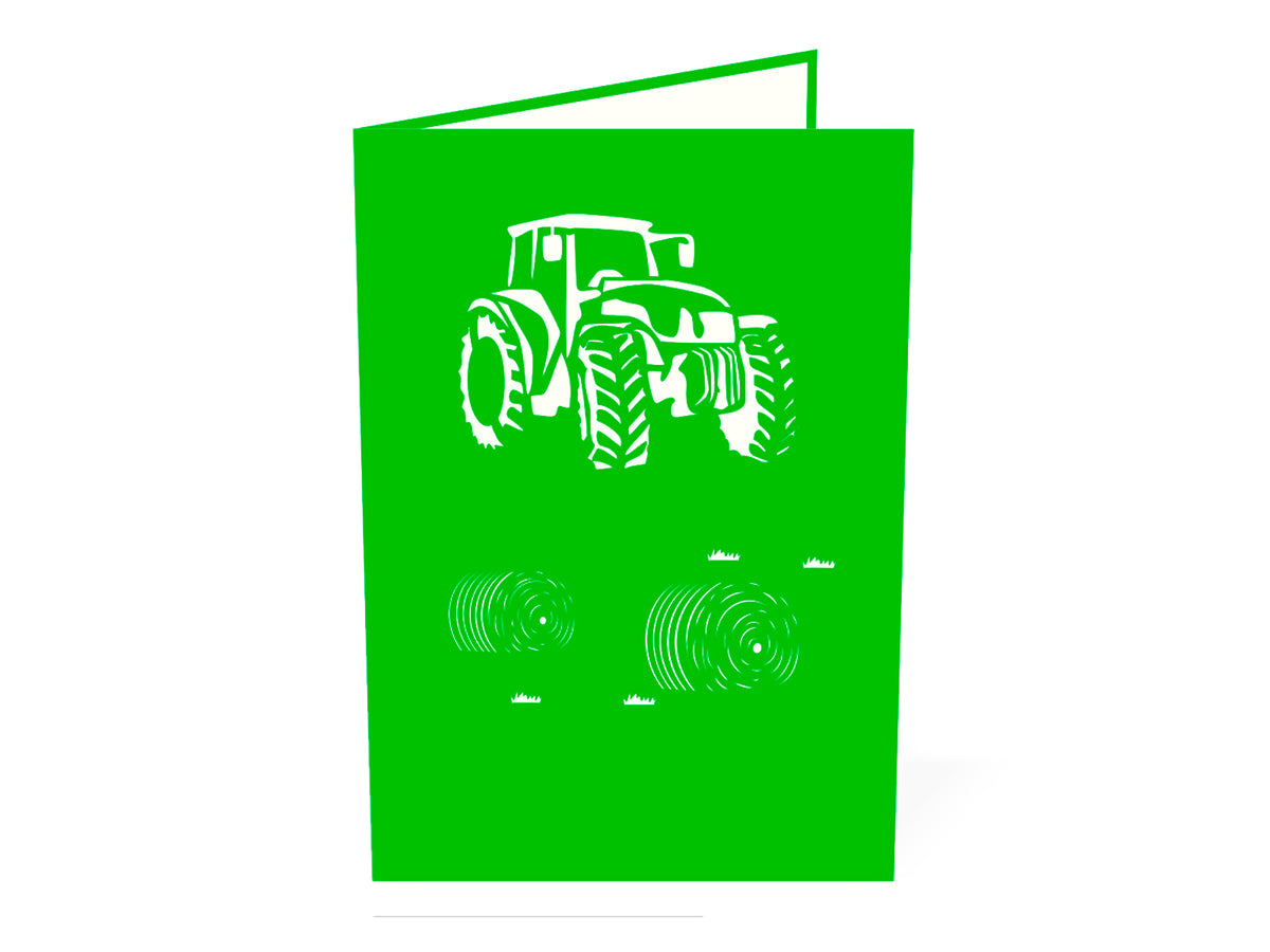Modern Green Tractor 3D Creative Pop Up Card outside