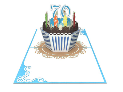 70th Birthday Cake for Him 3D Creative Popcards