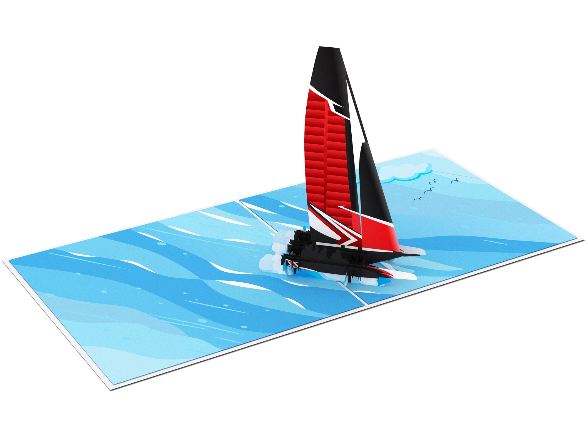 America's Cup Sailing Yacht Pop Up Card