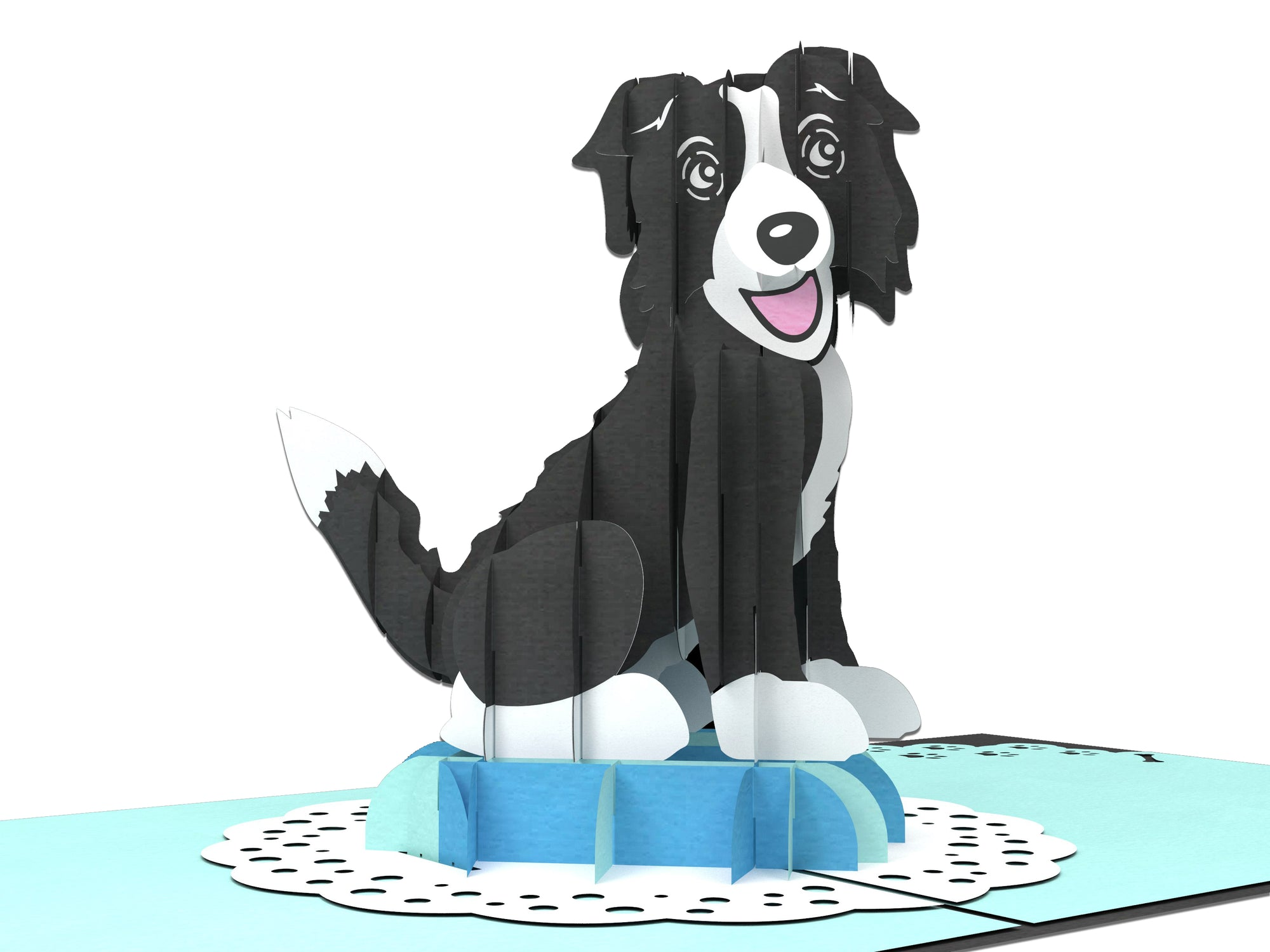 Male Border Collie 3D Creative Pop Up Card