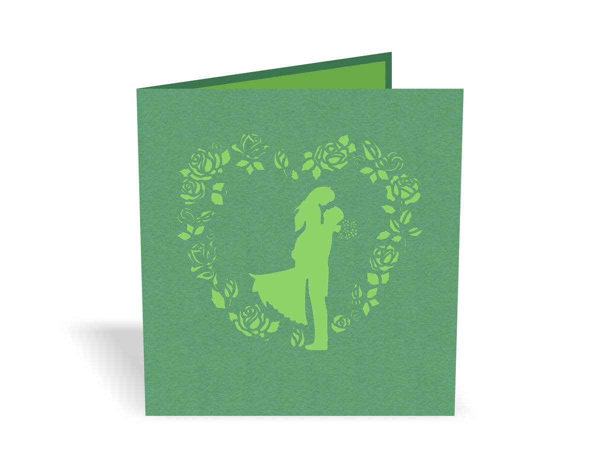 Wedding Couple 3D Creative Pop Up Card - outside