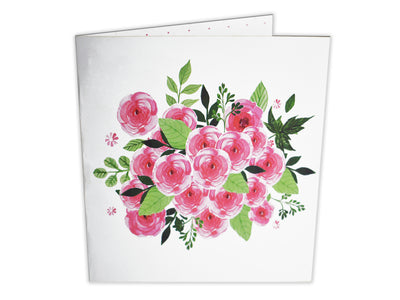 Pink Rose Basket 3D Creative Popcard