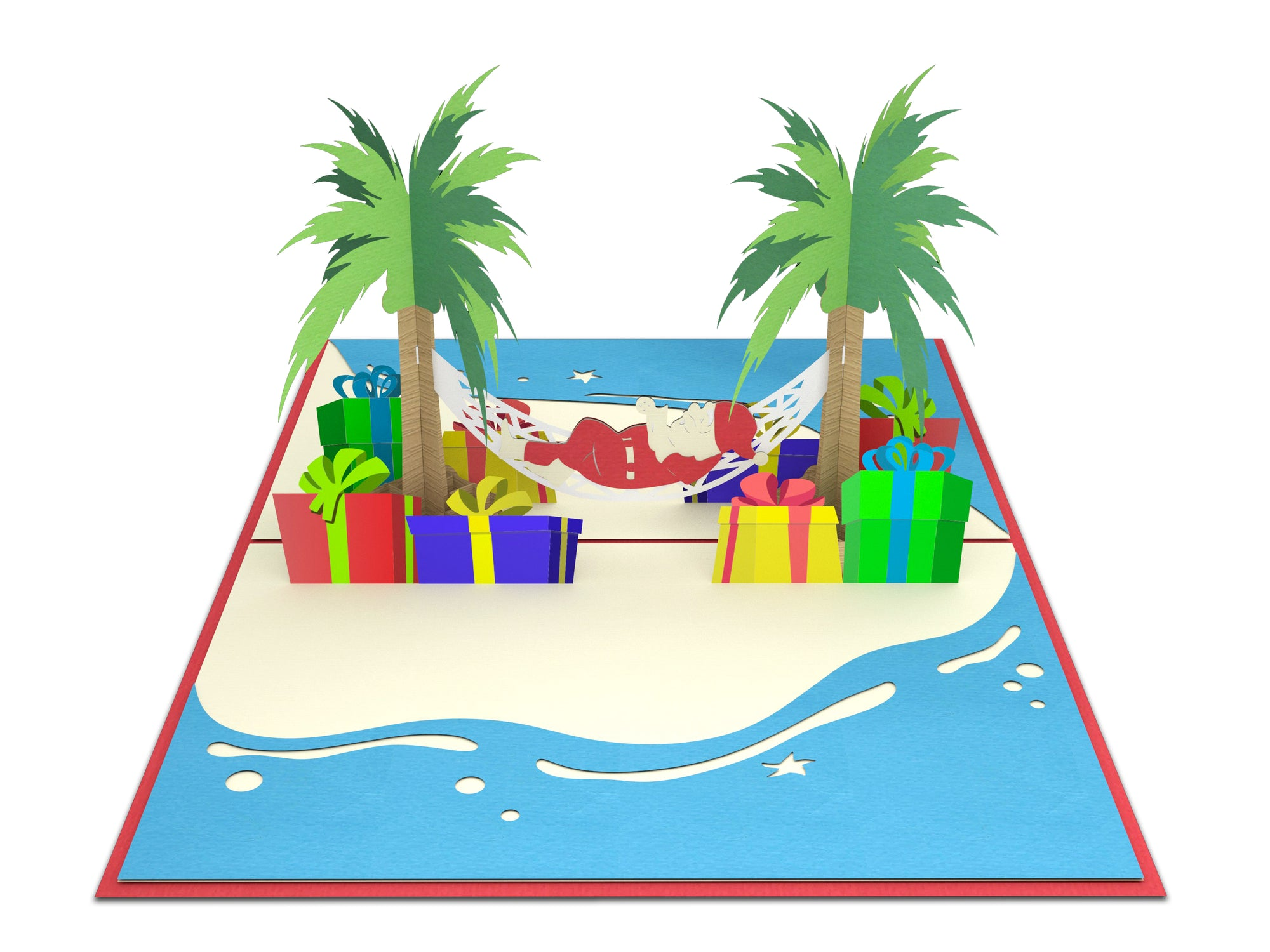Santa on The Beach 3D Popcards