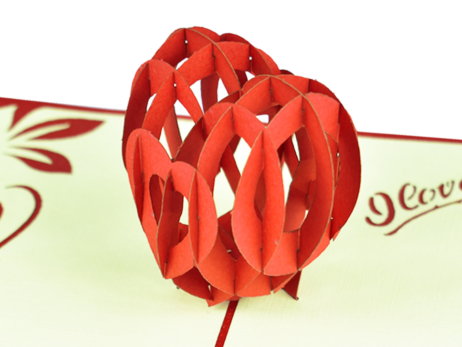 3D Love Heart Pop Up Card - close up