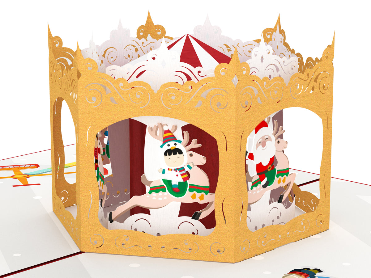 Christmas Carousel Pop Up Card - Red