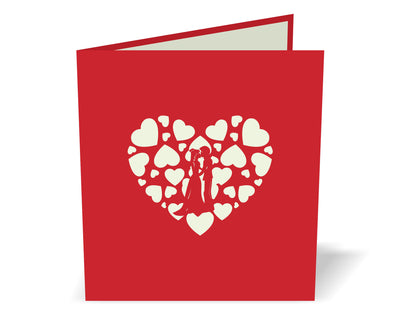 Love Heart 3D Creative Pop Up Card - closed