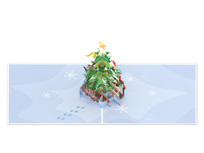 Christmas Tree and Penguins 3D Creative Pop Up Card