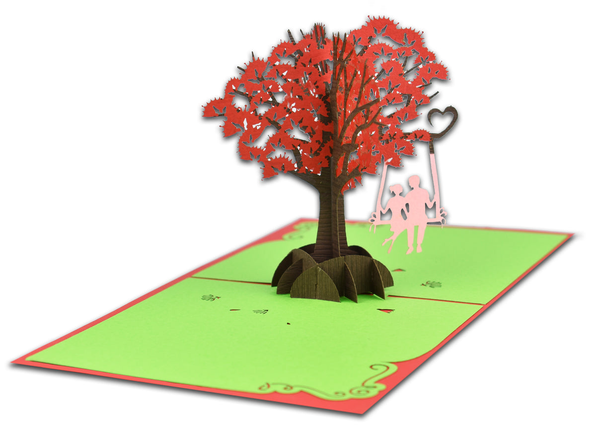 Couple On Swing Pohutukawa 3D Creative Pop Up Card