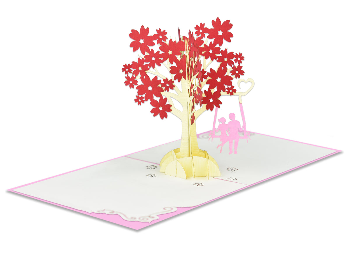 Couple Under Cherry Blossoms 3D Creative Popcard
