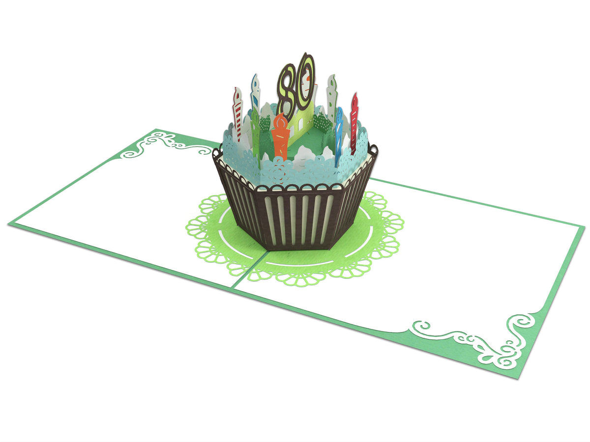 80th Years Old Happy Birthday 3D Creative Popcards - For Him