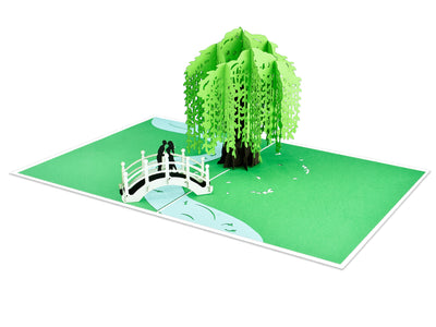 Couple on Bridge Beside Willow Tree Love Sense 3D Creative Pop Up Card