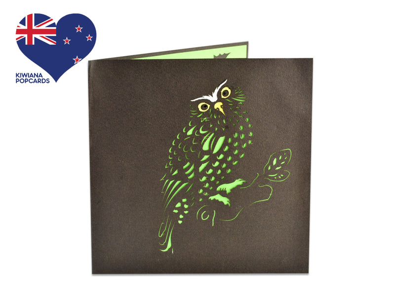 New Zealand Morepork 3D Creative Pop Up Card